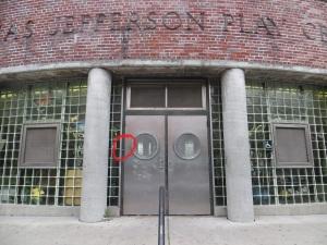 rec center entrance with buzzer location circled